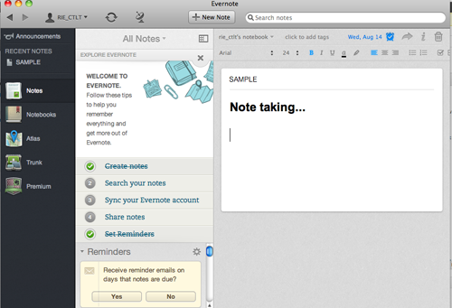 Evernote Screen