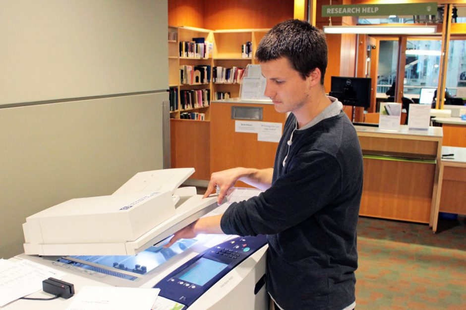 Student scanning documents