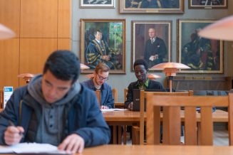 Students studying in the Ridington Room