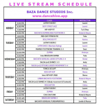 Baza Dance Studios' Live Stream Schedule