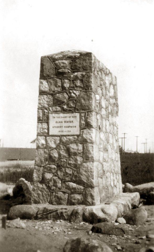 Black and white photograph of the Cairn at Point Grey, taken in 1922.